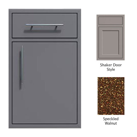 "Canyon Series Shaker Style 18""w by 29""h Single Door, Drawer Enclosure w/ Adj. Shelf (Right Hinge) In Speckled Walnut - CAN002-F01-Shaker-RghtHng-SpeckWalnut"
