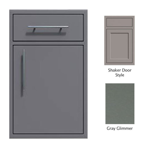 "Canyon Series Shaker Style 18""w by 29""h Single Door, Drawer Enclosure w/ Adj. Shelf (Right Hinge) In Grey Glimmer - CAN002-F01-Shaker-RghtHng-TexturedGreyGlimmer"