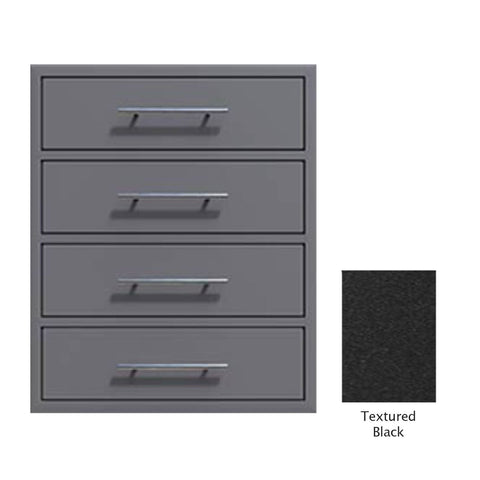 "Canyon Series 24""w by 29""h 4 Storage Drawer Enclosure, Fully-Extensible In Textured Black - CAN006-F01-TexturedBlack"