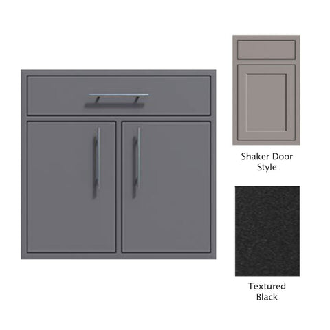 "Canyon Series Shaker Style 36""w by 29""h Double Door, Drawer Enclosure w/ Adj. Shelf In Textured Black - CAN012-F01-Shaker-TexturedBlack"