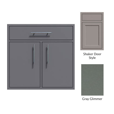 "Canyon Series Shaker Style 36""w by 29""h Double Door, Drawer Enclosure w/ Adj. Shelf In Grey Glimmer - CAN012-F01-Shaker-TexturedGreyGlimmer"