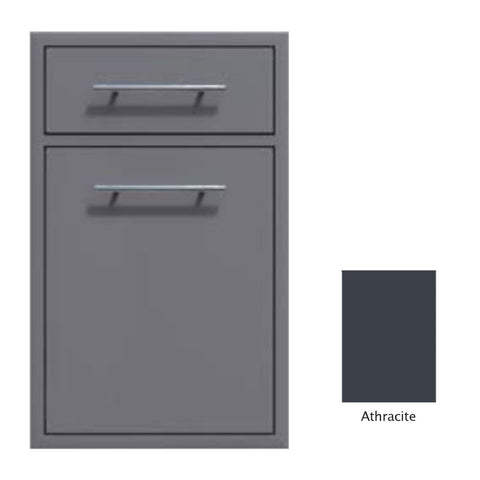 "Canyon Series 18""w by 29""h Trash Pullout w/ Single Storage Drawer Enclosure In Anthracite - CAN017-F04-Anthracite"