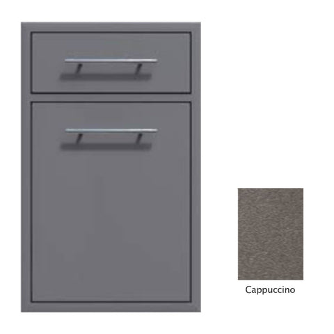 "Canyon Series 18""w by 29""h Trash Pullout w/ Single Storage Drawer Enclosure In Cappuccino - CAN017-F04-Cappuccino"