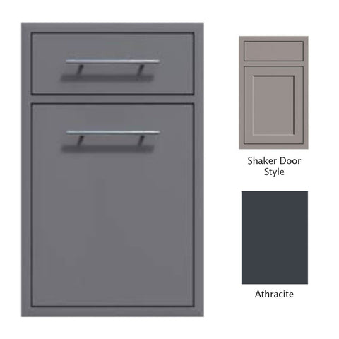 "Canyon Series Shaker Style 18""w by 29""h Trash Pullout w/ Single Storage Drawer Enclosure In Anthracite - CAN017-F04-Shaker-Anthracite"