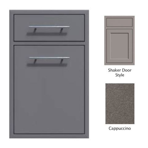 "Canyon Series Shaker Style 18""w by 29""h Trash Pullout w/ Single Storage Drawer Enclosure In Cappuccino - CAN017-F04-Shaker-Cappuccino"