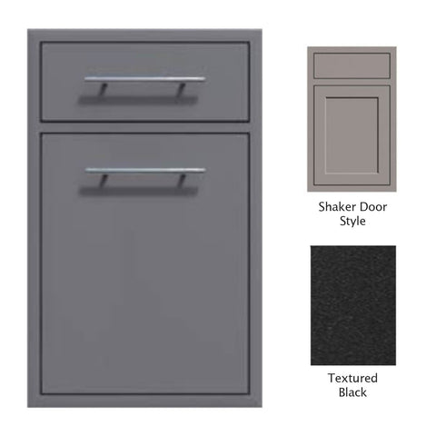 "Canyon Series Shaker Style 18""w by 29""h Trash Pullout w/ Single Storage Drawer Enclosure In Textured Black - CAN017-F04-Shaker-TexturedBlack"