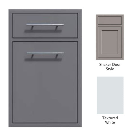 "Canyon Series Shaker Style 18""w by 29""h Trash Pullout w/ Single Storage Drawer Enclosure In Textured White - CAN017-F04-Shaker-TexturedWhite"