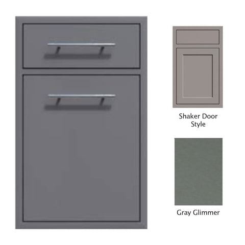"Canyon Series Shaker Style 18""w by 29""h Trash Pullout w/ Single Storage Drawer Enclosure In Grey Glimmer - CAN017-F04-Shaker-TexturedGreyGlimmer"