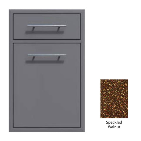 "Canyon Series 18""w by 29""h Trash Pullout w/ Single Storage Drawer Enclosure In Speckled Walnut - CAN017-F04-SpeckWalnut"
