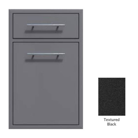 "Canyon Series 18""w by 29""h Trash Pullout w/ Single Storage Drawer Enclosure In Textured Black - CAN017-F04-TexturedBlack"