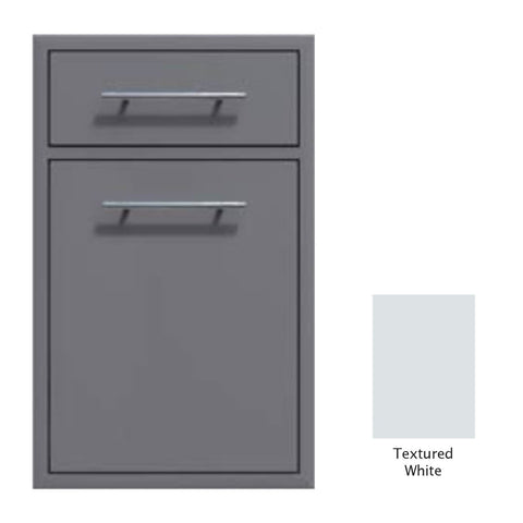 "Canyon Series 18""w by 29""h Trash Pullout w/ Single Storage Drawer Enclosure In Textured White - CAN017-F04-TexturedWhite"