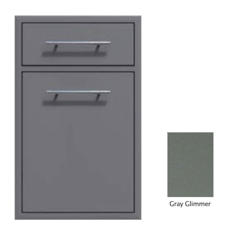 "Canyon Series 18""w by 29""h Trash Pullout w/ Single Storage Drawer Enclosure In Grey Glimmer - CAN017-F04-TexturedGreyGlimmer"