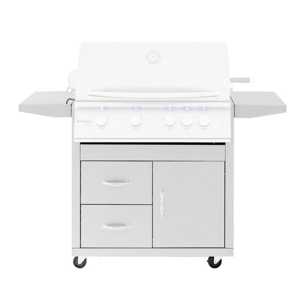 Summerset Pro Series Stainless Steel Fully Assembled Door and 2 Drawer Combo Cart For 32-Inch Sizzler and Sizzler Pro Grills (Cart Only) - CART-SIZ32-DC