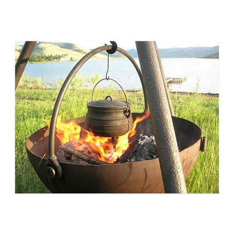 "Cowboy Cauldron ""The Ranch Boss"" 42-Inch Diameter Steel Cauldron Fire Pit w/ Tripod and Cooking Grate - CC-RanchBoss-Comp"