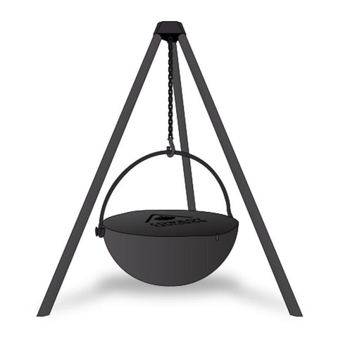 "Cowboy Cauldron ""Urban Cowboy"" 30-Inch Diameter Steel Cauldron Fire Pit w/ Tripod and Cooking Grate - CC-UrbanCowboy-Comp"