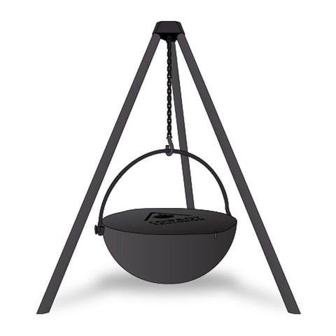 "Cowboy Cauldron ""The Wrangler"" 36-Inch Diameter Steel Cauldron Fire Pit w/ Tripod and Cooking Grate - CC-Wrangler-Comp"