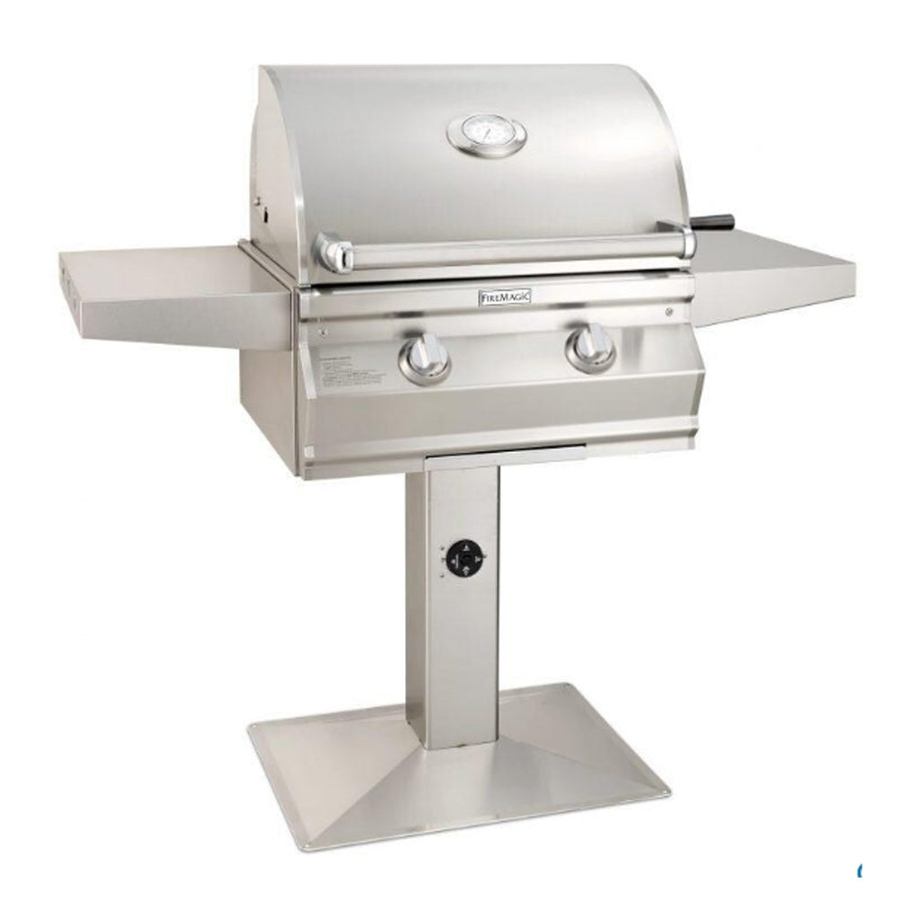Fire Magic Choice Muilt-User Accessible C430i 24-Inch Propane Gas Patio Post Mounted Grill w/ Analog Thermometer - CMA430S-RT1P-P6