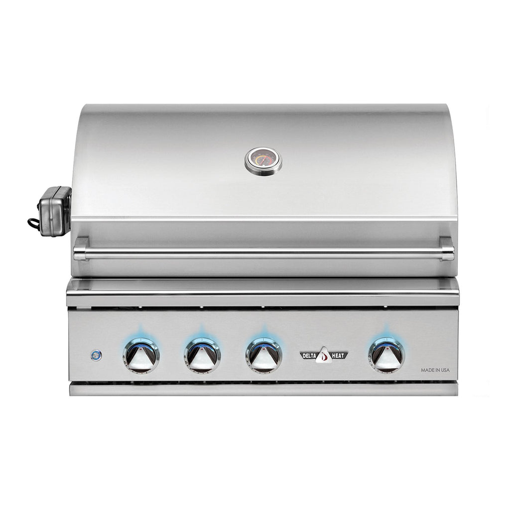 Delta Heat 32-Inch Natural Gas Built-In Grill, w/ Infrared Rotisserie and Sear Zone - DHBQ32RS-DN