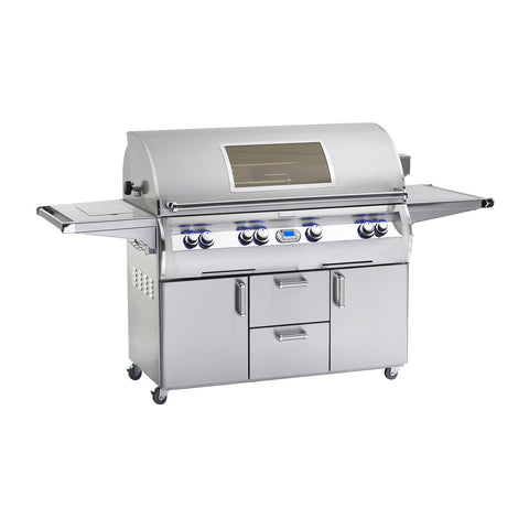 Fire Magic Echelon Diamond E1060s 48-Inch Propane Gas Freestanding Grill w/ Flush Mounted Single Side Burner, Backburner, Rotisserie Kit, One Infrared Burner, Magic View Window and Digital Thermometer - E1060S-8L1P-62-W