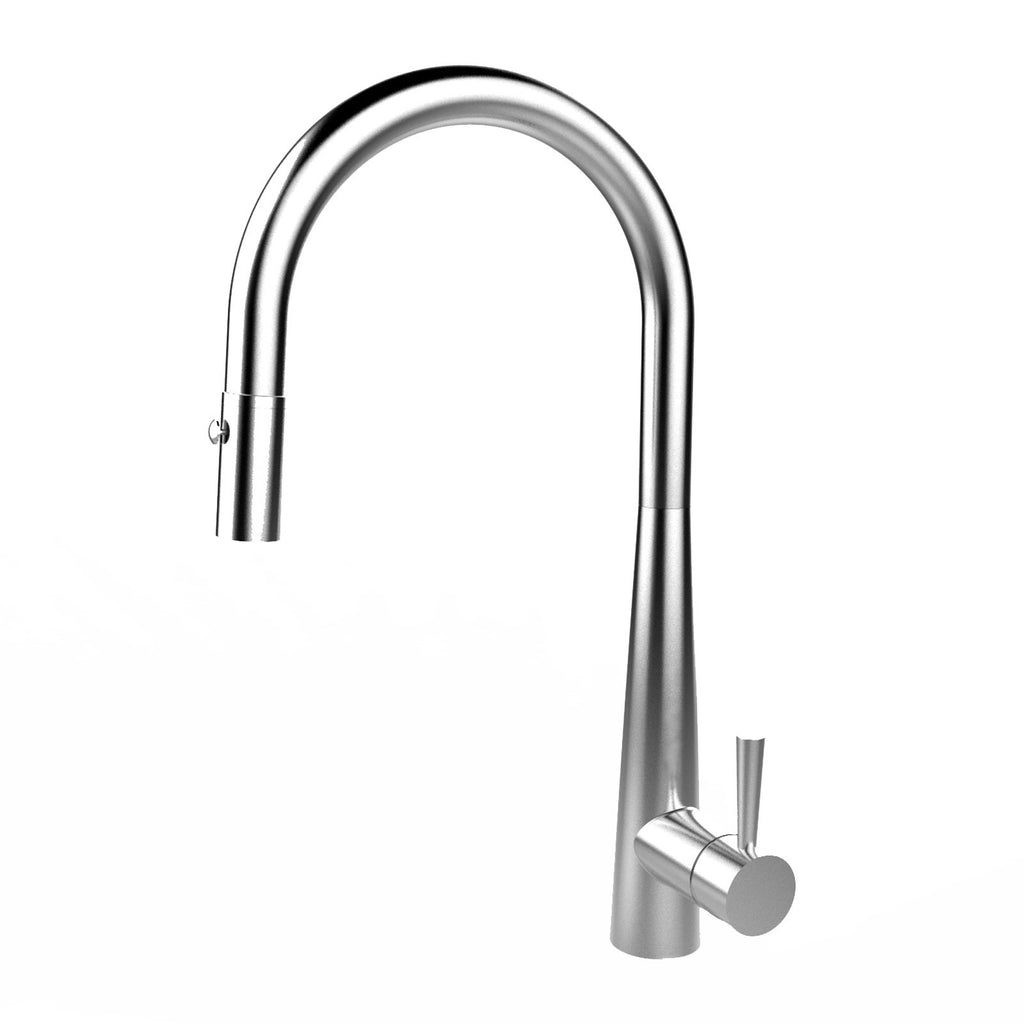 E2 Stainless Solid Stainless Steel Gooseneck Faucet w/ Single Lever Water Control, Retractable Spray Head and Selectable Spray Patterns - XC0720/Greenbrae