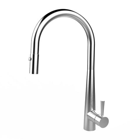 E2 Stainless Solid Stainless Steel Hot & Cold Water Gooseneck Faucet w/ Single Lever Water Control, Retractable Spray Head and Selectable Spray Patterns - XC0720/Greenbrae