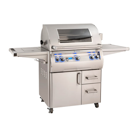 Fire Magic Echelon Diamond E660s 30-Inch Propane Gas Freestanding Grill w/ Flush Mounted Single Side Burner, Backburner, Rotisserie Kit, One Infrared Burner, Magic View Window and Digital Thermometer - E660S-8L1P-62-W