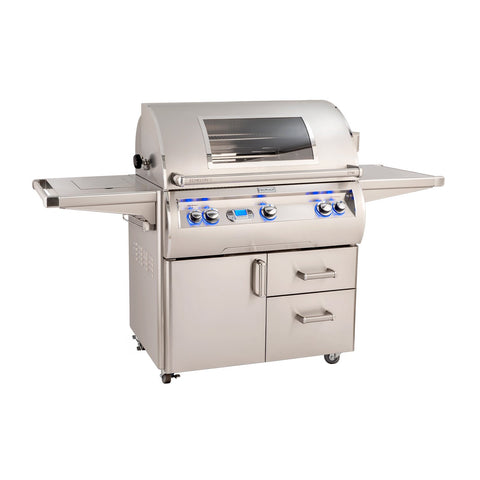 Fire Magic Echelon Diamond E790s 36-Inch Natural Gas Freestanding Grill w/ Flush Mounted Single Side Burner, Backburner, Rotisserie Kit, One Infrared Burner, Magic View Window and Digital Thermometer - E790s-8L1N-62-W