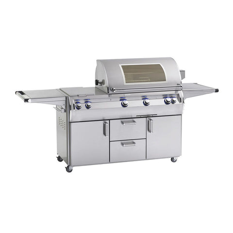 Fire Magic Echelon Diamond E790s 36-Inch Propane Gas Freestanding Grill w/ Double Side Burner, Backburner, Rotisserie Kit, One Infrared Burner, Magic View Window and Analog Thermometer - E790s-8LAP-71-W