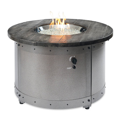 The Outdoor GreatRoom Edison 41.38-Inch Round Natural Gas Fire Pit Table w/ Direct Spark Ignition - ED-20 + CF-DSI-NG