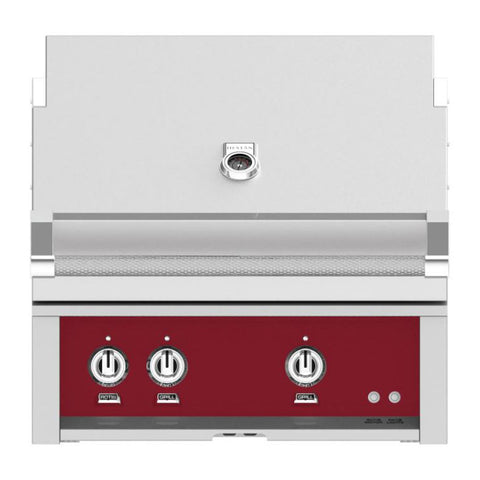 Hestan 30-Inch Natural Gas Built-In Grill, 1 Sear - 1 Trellis w/Rotisserie in Burgundy - GMBR30-NG-BG