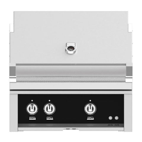Hestan 30-Inch Propane Gas Built-In Grill, 2 Sear w/ Rotisserie in Black - GSBR30-LP-BK