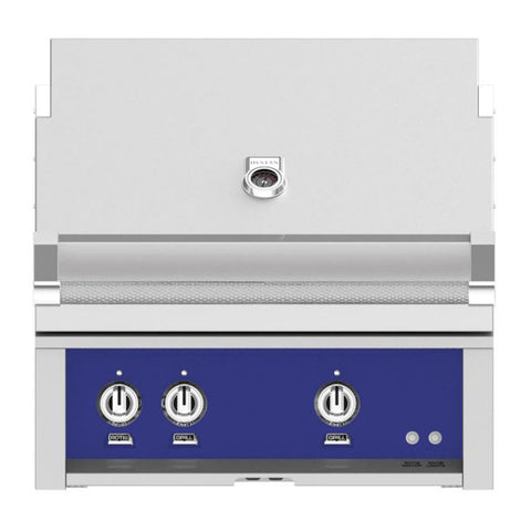 Hestan 30-Inch Natural Gas Built-In Grill, 2 Sear w/ Rotisserie in Blue - GSBR30-NG-BU