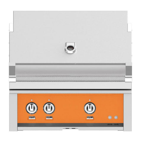 Hestan 30-Inch Natural Gas Built-In Grill, 1 Sear - 1 Trellis w/Rotisserie in Orange - GMBR30-NG-OR