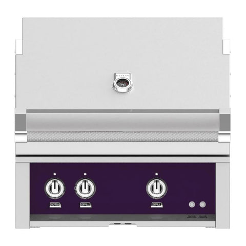 Hestan 30-Inch Propane Gas Built-In Grill - 2 Trellis w/ Rotisserie in Purple - GABR30-LP-PP
