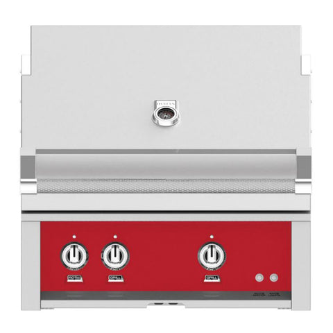 Hestan 30-Inch Natural Gas Built-In Grill, 1 Sear - 1 Trellis w/Rotisserie in Red - GMBR30-NG-RD