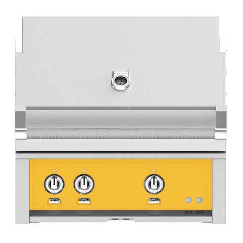 Hestan 30-Inch Propane Gas Built-In Grill, 1 Sear - 1 Trellis w/Rotisserie in Yellow - GMBR30-LP-YW