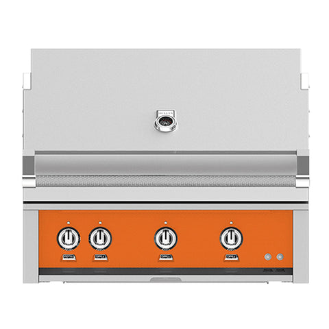 Hestan 36-Inch Natural Gas Built-In Grill, 3 Sear w/ Rotisserie in Orange - GSBR36-NG-OR