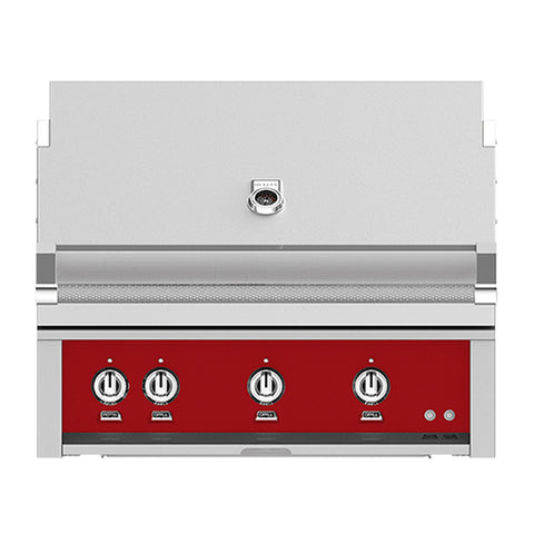 Hestan 36-Inch Propane Gas Built-In Grill, 3 Sear w/ Rotisserie in Red - GSBR36-LP-RD