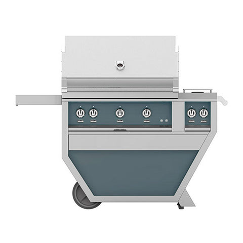 Hestan 36-Inch Propane Gas Freestanding Deluxe Grill with Double Side Burner, 3 Sear w/ Rotisserie in Dark Gray - GSBR36CX2-LP-GG