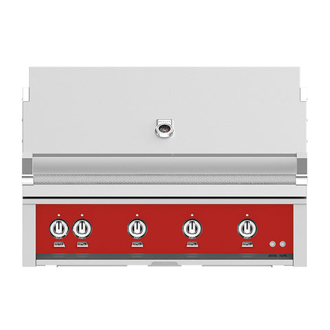 Hestan 42-Inch Propane Gas Built-In Grill, 1 Sear - 3 Trellis w/Rotisserie in Red - GMBR42-LP-RD