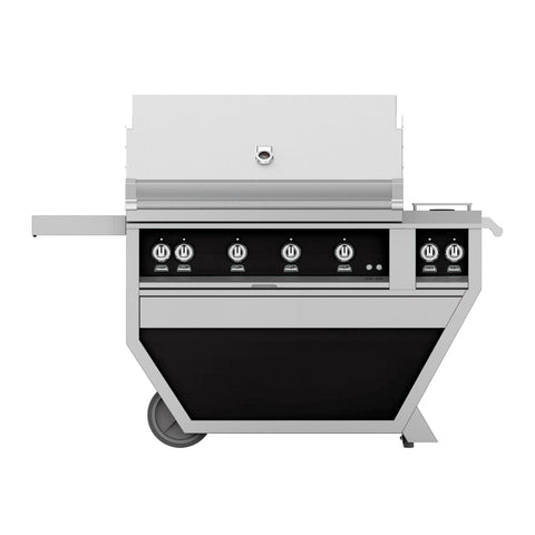 Hestan 42-Inch Propane Gas Freestanding Deluxe Grill with Double Side Burner, 1 Sear - 3 Trellis w/ Rotisserie in Black - GMBR42CX2-LP-BK
