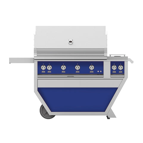 Hestan 42-Inch Propane Gas Freestanding Deluxe Grill with Double Side Burner - 4 Trellis w/ Rotisserie in Blue - GABR42CX2-LP-BU