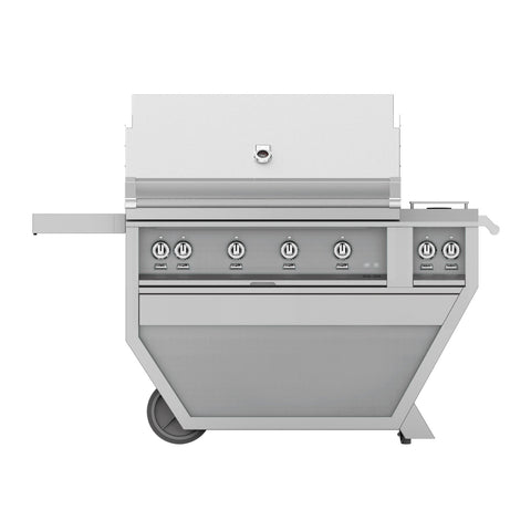 Hestan 42-Inch Natural Gas Freestanding Deluxe Grill with Double Side Burner - 4 Trellis w/ Rotisserie in Stainless Steel - GABR42CX2-NG