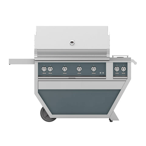 Hestan 42-Inch Propane Gas Freestanding Deluxe Grill with Double Side Burner - 4 Trellis w/ Rotisserie in Dark Gray - GABR42CX2-LP-GG