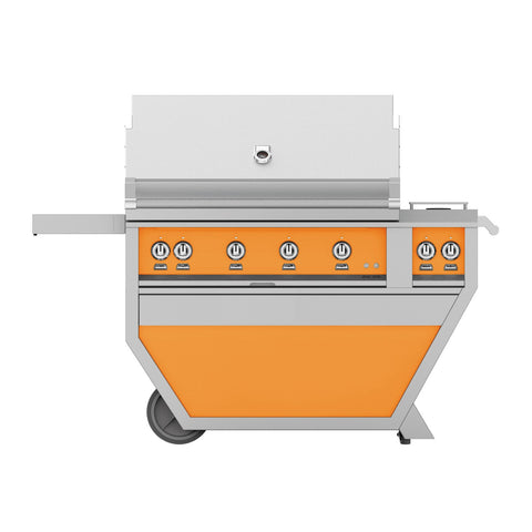 Hestan 42-Inch Propane Gas Freestanding Deluxe Grill with Double Side Burner - 4 Trellis w/ Rotisserie in Orange - GABR42CX2-LP-OR