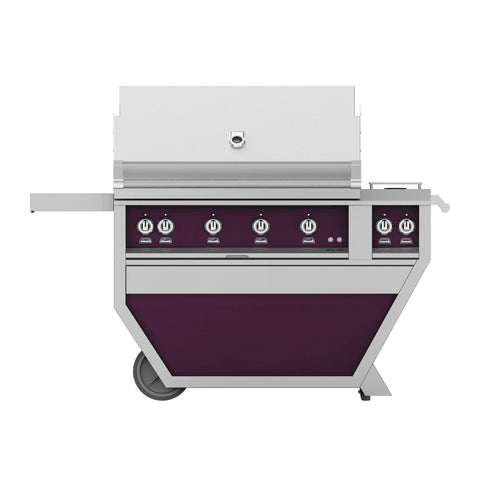 Hestan 42-Inch Propane Gas Freestanding Deluxe Grill with Double Side Burner - 4 Trellis w/ Rotisserie in Purple - GABR42CX2-LP-PP