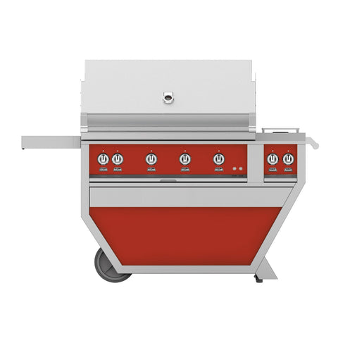 Hestan 42-Inch Propane Gas Freestanding Deluxe Grill with Double Side Burner - 4 Trellis w/ Rotisserie in Red - GABR42CX2-LP-RD