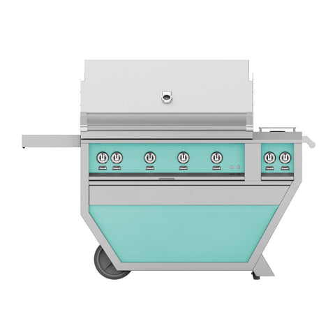 Hestan 42-Inch Propane Gas Freestanding Deluxe Grill with Double Side Burner - 4 Trellis w/ Rotisserie in Turquoise - GABR42CX2-LP-TQ