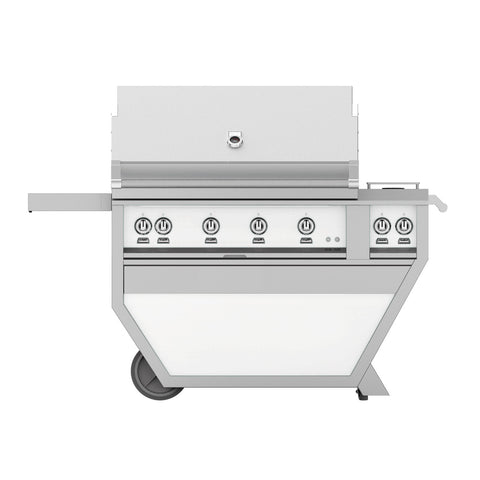 Hestan 42-Inch Natural Gas Freestanding Deluxe Grill with Double Side Burner - 4 Trellis w/ Rotisserie in White - GABR42CX2-NG-WH