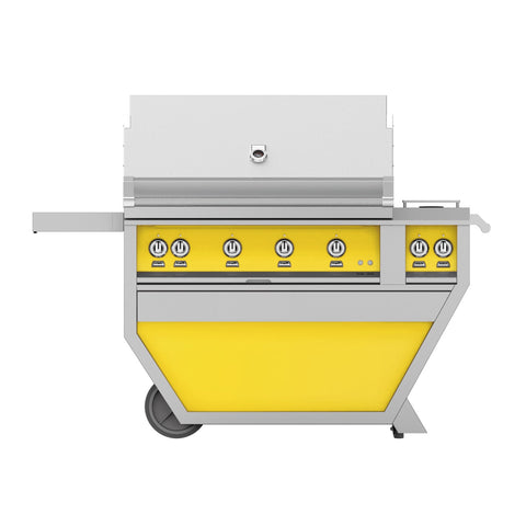 Hestan 42-Inch Propane Gas Freestanding Deluxe Grill with Double Side Burner - 4 Trellis w/ Rotisserie in Yellow - GABR42CX2-LP-YW